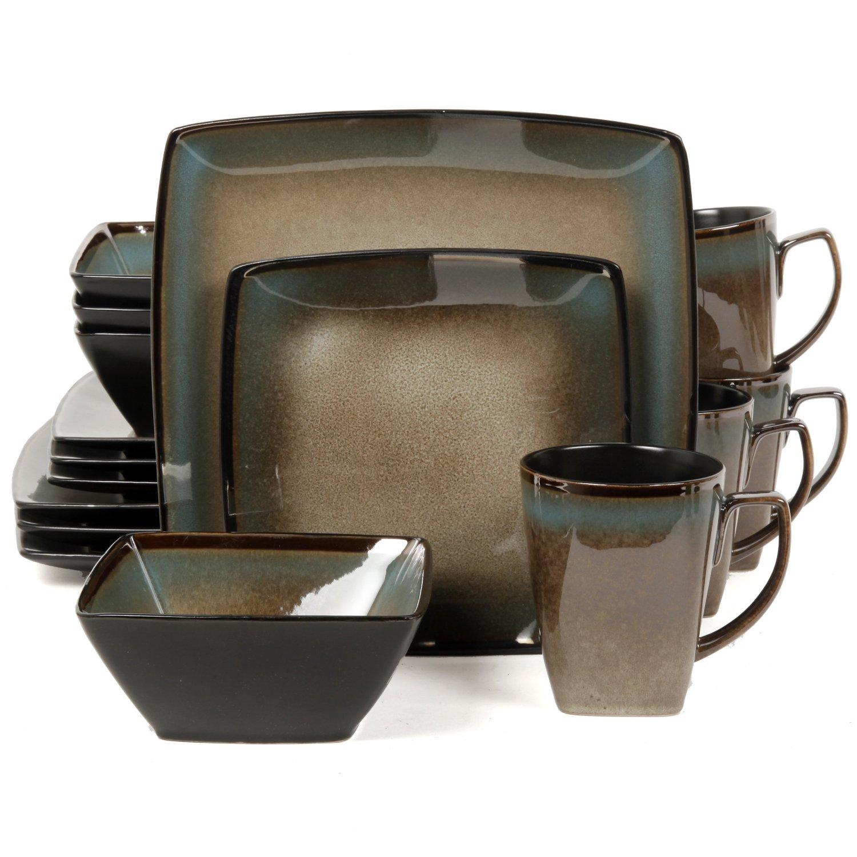 Gibson elite tequesta 16 piece square dinnerware set for Kitchen dish sets