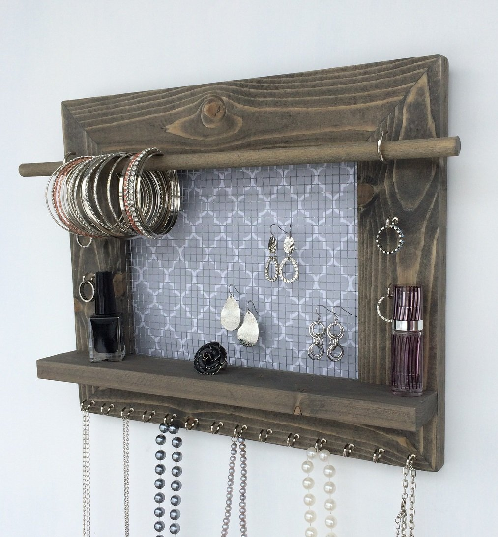 Jewelry organizer earring holder necklace holder for Picture frame organization wall