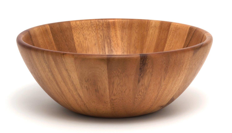 vintage large round concave 10u201d dark wooden salad servin