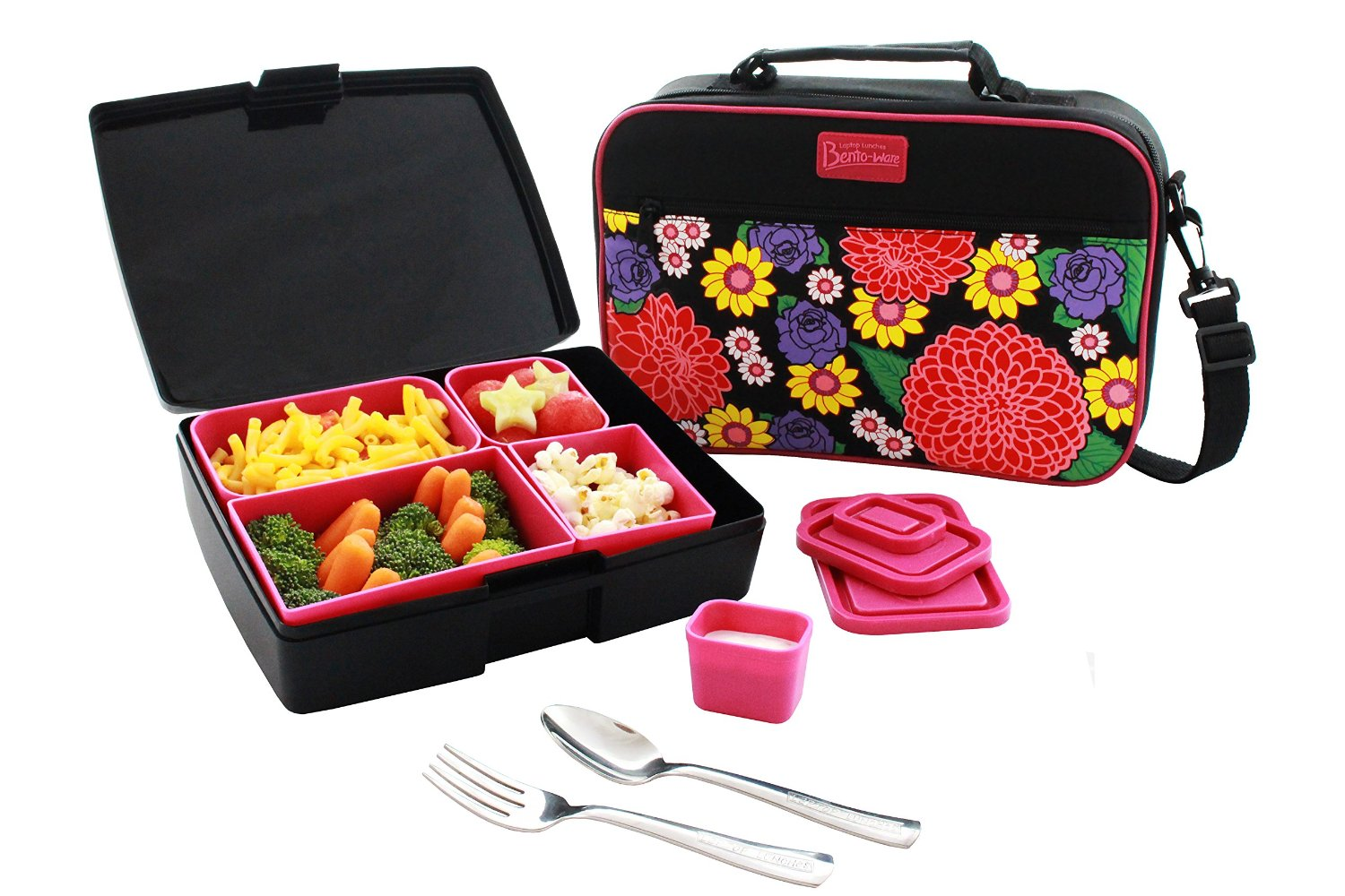 lunch box combo includes bento box carrier with handle ice pack and utensils dahlia flower. Black Bedroom Furniture Sets. Home Design Ideas