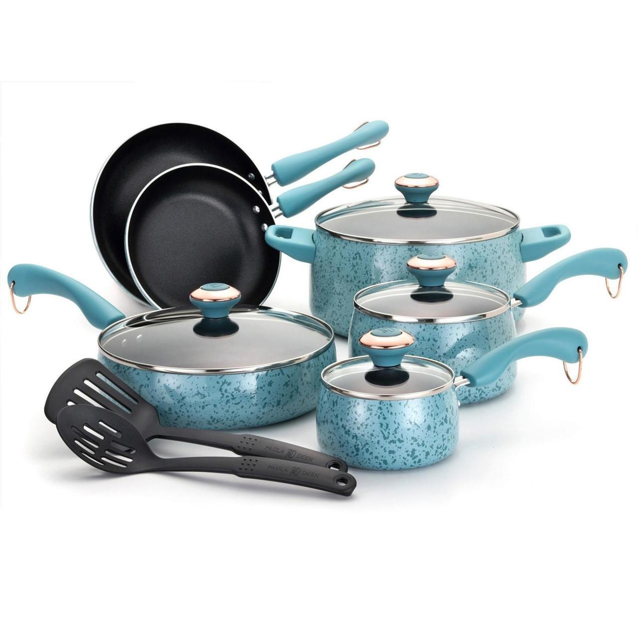 paula deen porcelain nonstick 12 piece cookware set in blue