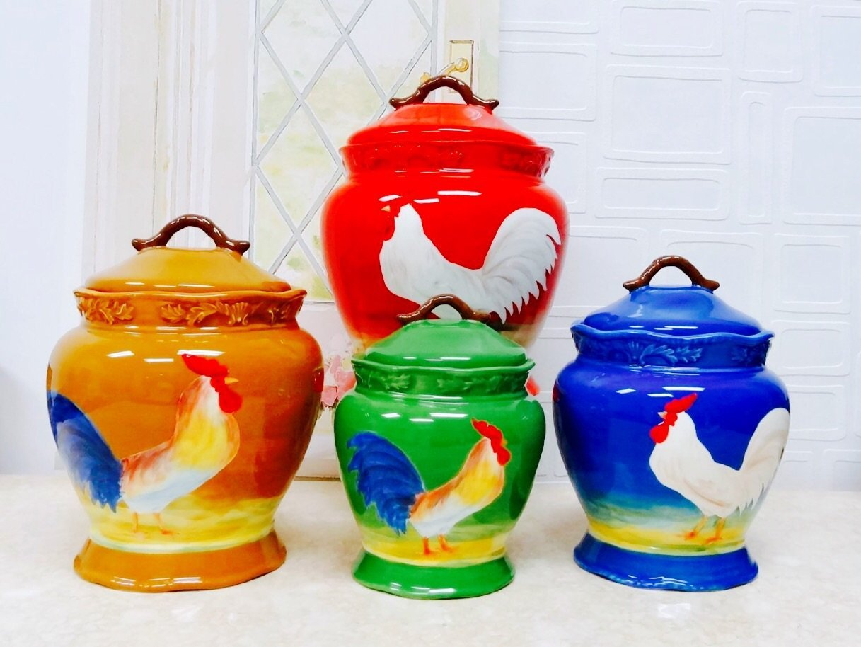 Tuscan Colorful Sunshine Rooster Hand Painted Ceramic Canisters Set Of 4 87101 By Ack